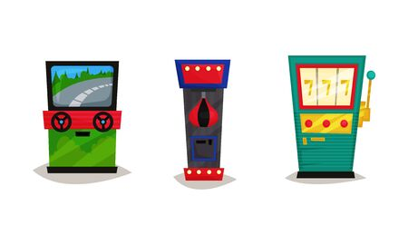 Slot Machines Vector Set. Gaming Industry Equipment Collection Illusztráció
