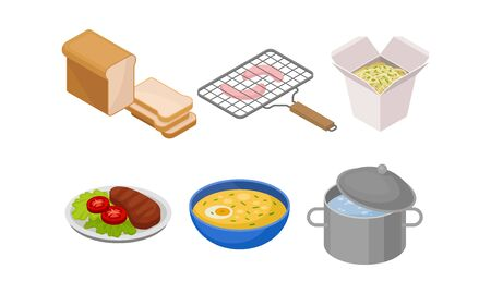 Isometric Food Items Isolated On White Background Vector Set. Cooking and Serving Concept