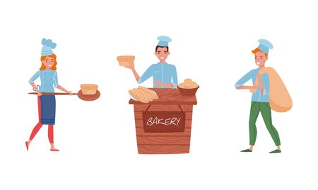 Smiling Baker Characters Baking Bread and Making Confections Vector Illustrations. Man Selling Bread at the Counter and Carrying Heavy Sack Stock Illustratie