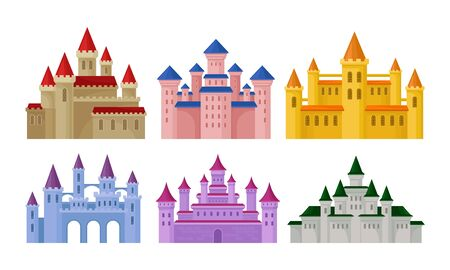 Castles and Fortresses Vector Set. Medieval Buildings Collection. Ancient Palaces Architecture