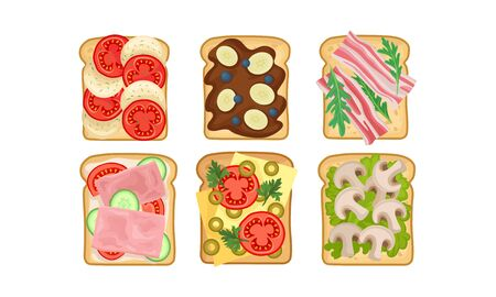 Toasts With Different Ingredients Vector Set. Top View of Tasty Sandwiches With Bacon, Mushrooms and Sweet Components