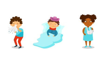 Children Suffering From Different Aches and Diseases Vector Illustrations. Girl Having Her Arm Broken, Boy with Fever and Kid Sneezing