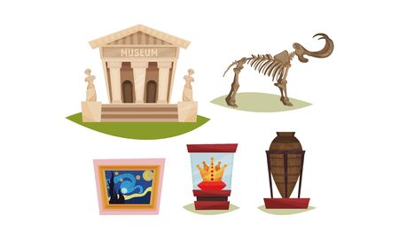 Museum Exhibit Items Isolated On White Background Vector Set. Ancient Artifacts Stored in Museum