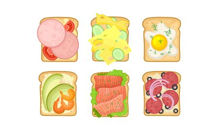 Toasts With Different Ingredients Vector Set. Top View of Tasty Sandwiches With Cheese, Meat and Fish