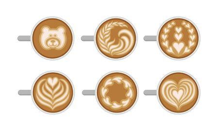 Latte Art Top Viewed Vector Set. Coffee Design Concept. Hot Drinks with Different Patterns on Top