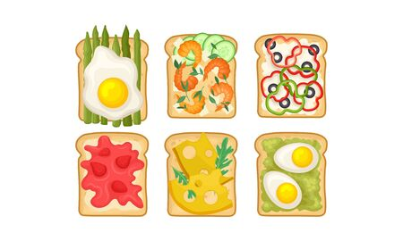 Toasts With Different Ingredients Vector Set. Top View of Tasty Sandwiches With Scrambled Egg and Prawns
