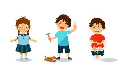 Children Suffering From Different Aches and Diseases Vector Illustrations. Girl Having Chicken Pox, Boy Banged His Finger With Hammer, Kid Having Stomachache