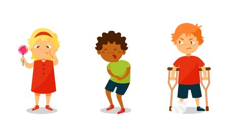 Children Suffering From Different Aches and Diseases Vector Illustrations. Girl Having Toothache, Boy with Stomachache and Kid with Broken Leg