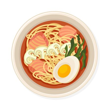 Noodles With Salmon and Boiled Eggs Served on Plate. Top Viewed Vector Illustration