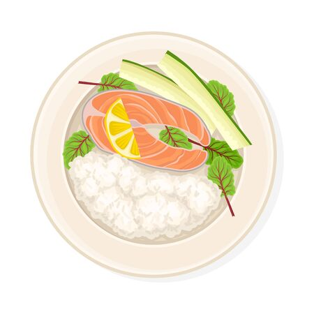 Rice With Salmon and Lemon Slice Served on Plate. Top Viewed Vector Illustration