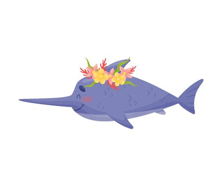 Pretty Blue Marlin Fish Baby Vector Illustration Cartoon Character