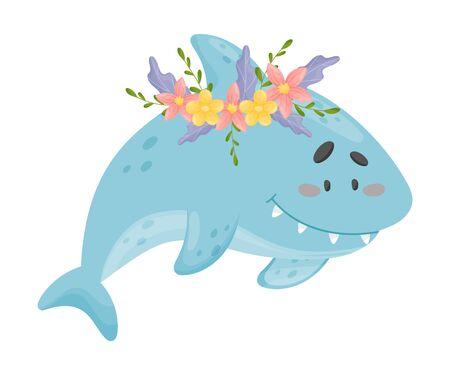 Blue Little Baby Shark Vector Illustration Cartoon Character