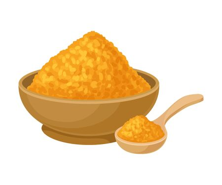Asian spice turmeric made from curcuma plant. Spice golden powder in a bowl with spoon. Vector Illustration, isolated on white background.