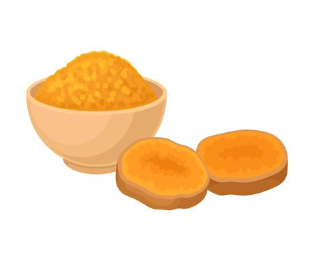 Asian Spice Turmeric Golden Powder In Bowl Vector Illustration