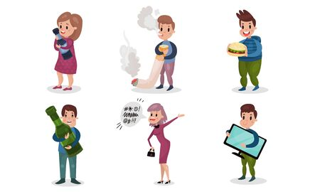 People Having Bad Habits Vector Illustrations Set. Harmful Addictions Concept. Male Got Used to Smoke and Woman Addicted to Alcoholic Drinks
