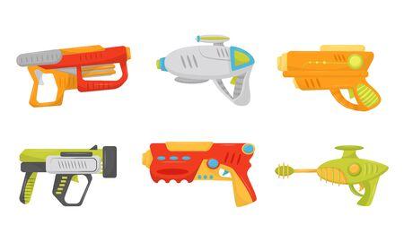 Water Pistols for Kids Game Vector Set. Playful Childhood