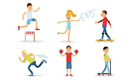 People Doing Different Kinds of Sports Vector Illustrations Set. Girl Doing Gymnastics and Boy Jogging
