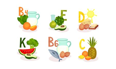 Food Items Separated by Main Vitamin Groups Vector Set. Balanced and Healthy Nutrition Concept