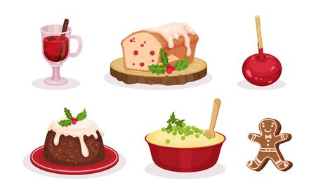 Christmas Festive Dishes and Desserts Set, Traditional Delicious Holiday Meal, Glass of Mulled Wine, Caramel Apple, Mashed Potatoes, Gingerbread, Pudding Vector Illustration