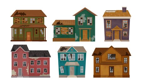Old Abandoned Houses Collection, Facades of One Storey and Two Storey Buildings with Broken Windows and Roof Vector Illustration