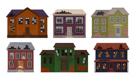 Old Abandoned Houses Collection, Facades of Cottages with Broken Windows and Roof Vector Illustration