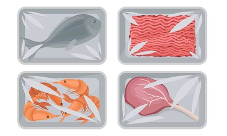 Collection of Food Plastic Tray Containers with Transparent Cellophane Covers, Fresh Minced Meat, Shrimps and Fish Packaging Vector Illustration on a White Background.