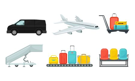 Airport Design Elements Set, Different Transport Types, Service Facilities, Conveyor Baggage Belt, Row Seats Vector Illustration on White Background. 向量圖像