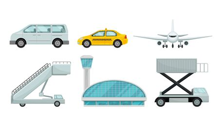Airport Design Elements Set, Different Transport Types, Service Facilities, Gangway, Terminal Building Vector Illustration