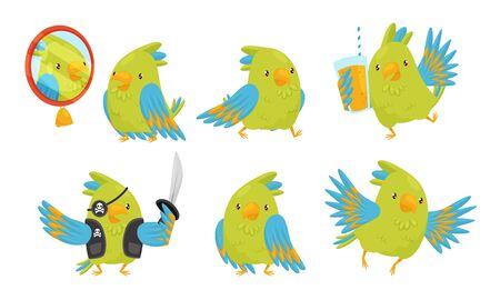 Cute Funny Parrot Cartoon Character Collection, Adorable Bird in Different Situations Vector Illustration on White Background.