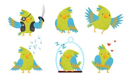 Cute Funny Parrot Cartoon Character Collection, Adorable Domestic Bird in Different Situations Vector Illustration  イラスト・ベクター素材