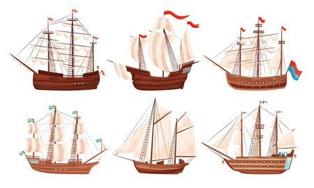 Vintage Sailing Ships Collection, Old Wooden Boats with White Sails and Flags Vector Illustration Ilustracja