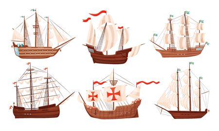 Vintage Sailing Ships Collection, Old Wooden Boats with White Sails Vector Illustration Ilustracja