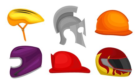 Different Helmets Collection, Headgear of Knight, Cyclist, Athlete, Motorcyclist Vector Illustration on White Background.