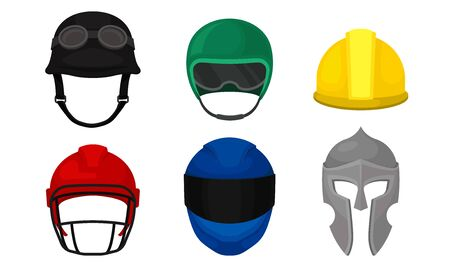 Different Helmets Collection, Headgear of Construction Worker, Athlete, Motorcyclist, Knight Vector Illustration on White Background.