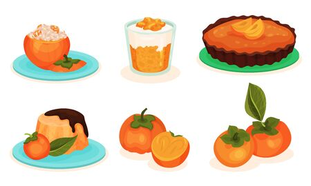 Persimmon Desserts Collection, Stuffed and Whole Fruits, Pudding, Pie, Vector Illustration on White Background. Çizim