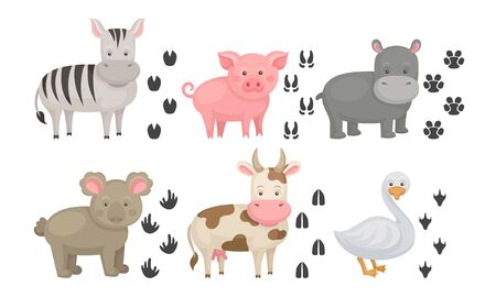 Cute Farm and Wild Animals and Their Paw Fingerprints Collection, Zebra, Pig, Hippo, Koala, Cow, Goose Vector Illustration on White Background. Ilustracja