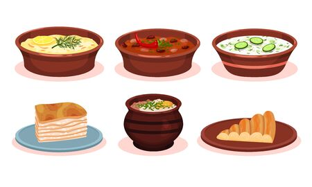 Bulgarian Cuisine National Food Dishes Collection, Vegetables and Meat Stewed in Pot, Banitsa Pie, Okroshka Vector Illustration on White Background.