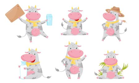 Funny Spotted Cow Cartoon Character Collection Humanized Farm Animal in Various Action Poses Vector Illustration on White Background. Illustration