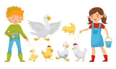 Boy and Girl Farmers Feeding Geese and Chickens, Farm Poultry Birds Breeding Vector Illustration on White Background.