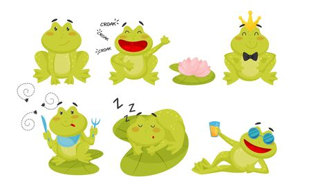Collection of Cute Funny Frog Cartoon Character, Adorable Frog Amphibian Animal in Different Situations Vector Illustration