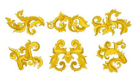 Monograma dorado con colección de adornos florales, antiguas viñetas barrocas ilustración vectorial sobre fondo blanco.