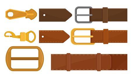 Cinturones de cuero con hebillas de metal y colección de Trinkes de acero, ilustración de vector de accesorios de moda de prendas de vestir sobre fondo blanco.