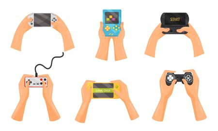 Hands Holding Gamepads Vector Set. People Playing Video Games with Help of Controller