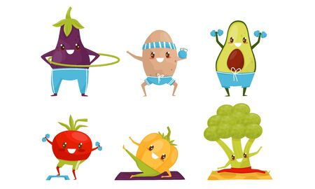 Sportive Vegetables Cartoon Character Doing Fitness Exercises Collection, Healthy Lifestyle Concept Vector Illustration 일러스트
