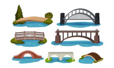 Colección de diferentes puentes, pasarelas de madera, metal y hormigón ilustración vectorial