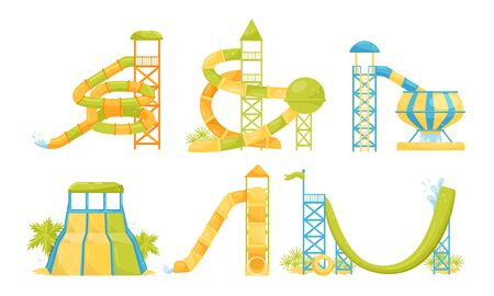 Water Park Attractions Collection, Aquapark Water Pool Slides, Pipes Vector Illustration on a White Background. 일러스트