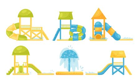 Water Park Attractions Collection, Aquapark Water Slides Vector Illustration on a White Background. 일러스트