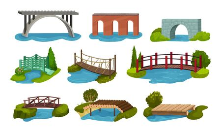 Different Bridges Collection, Wooden, Metal, Brick and Concrete Bidge Vector Illustration on a White Background. Ilustracja