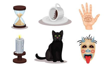 Magic Objects Collection, Witchcraft Symbols, Hourglass, Palm with Seeing Eye, Black Cat, Candle, Mask Vector Illustration on a White Background.