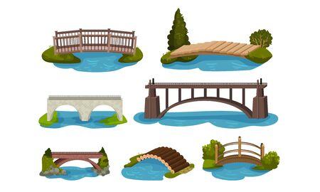 Different Bridges Collection, Wooden and Concrete Footbridges Vector Illustration on a White Background. Ilustração